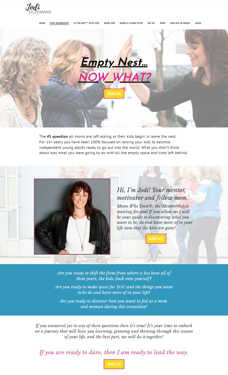 Memebership with Jodi Silverman Web Page Design