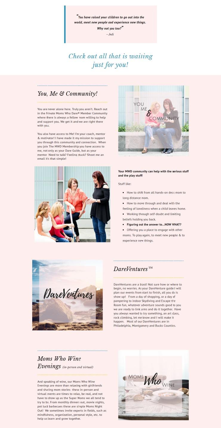 Membership site Moms who DARE
