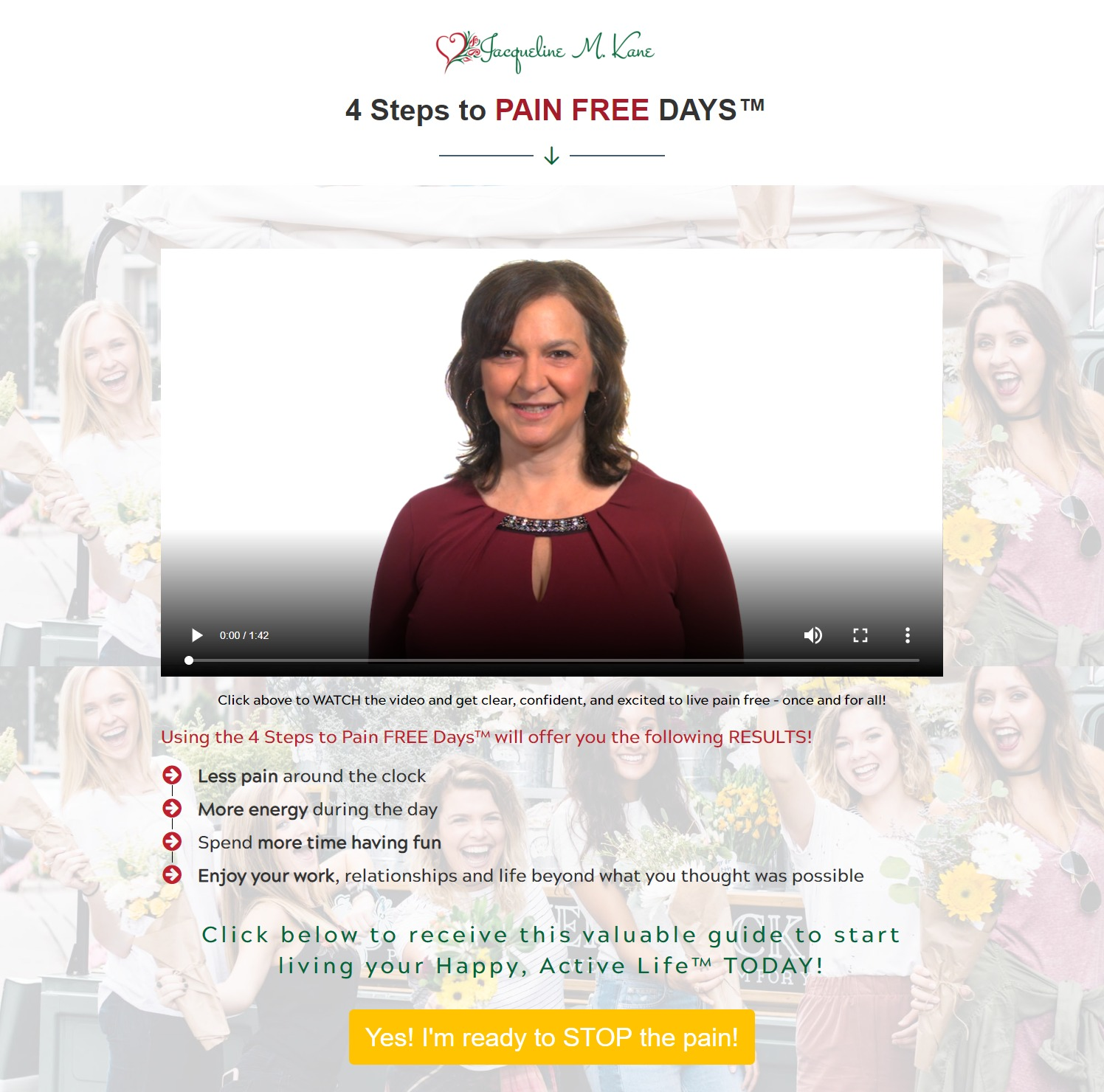 4 steps to Pain Free Days by Jacqueline Kane